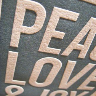 Letterpress knockout closeup