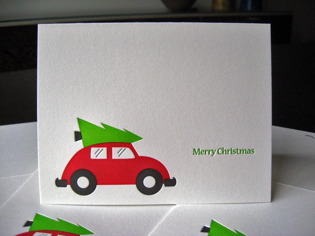 Letterpress Christmas Cards.Fresh Cut Holiday Card