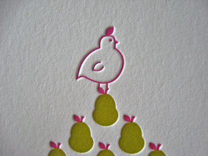 Letterpress partridge closeup