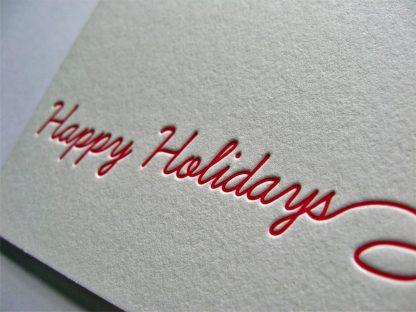 Happy Holidays Letterpress Closeup