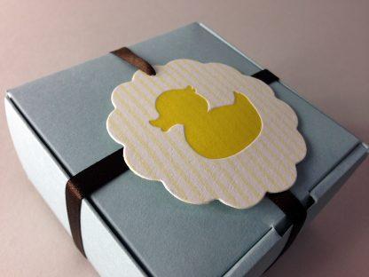 Letterpress baby hang tag