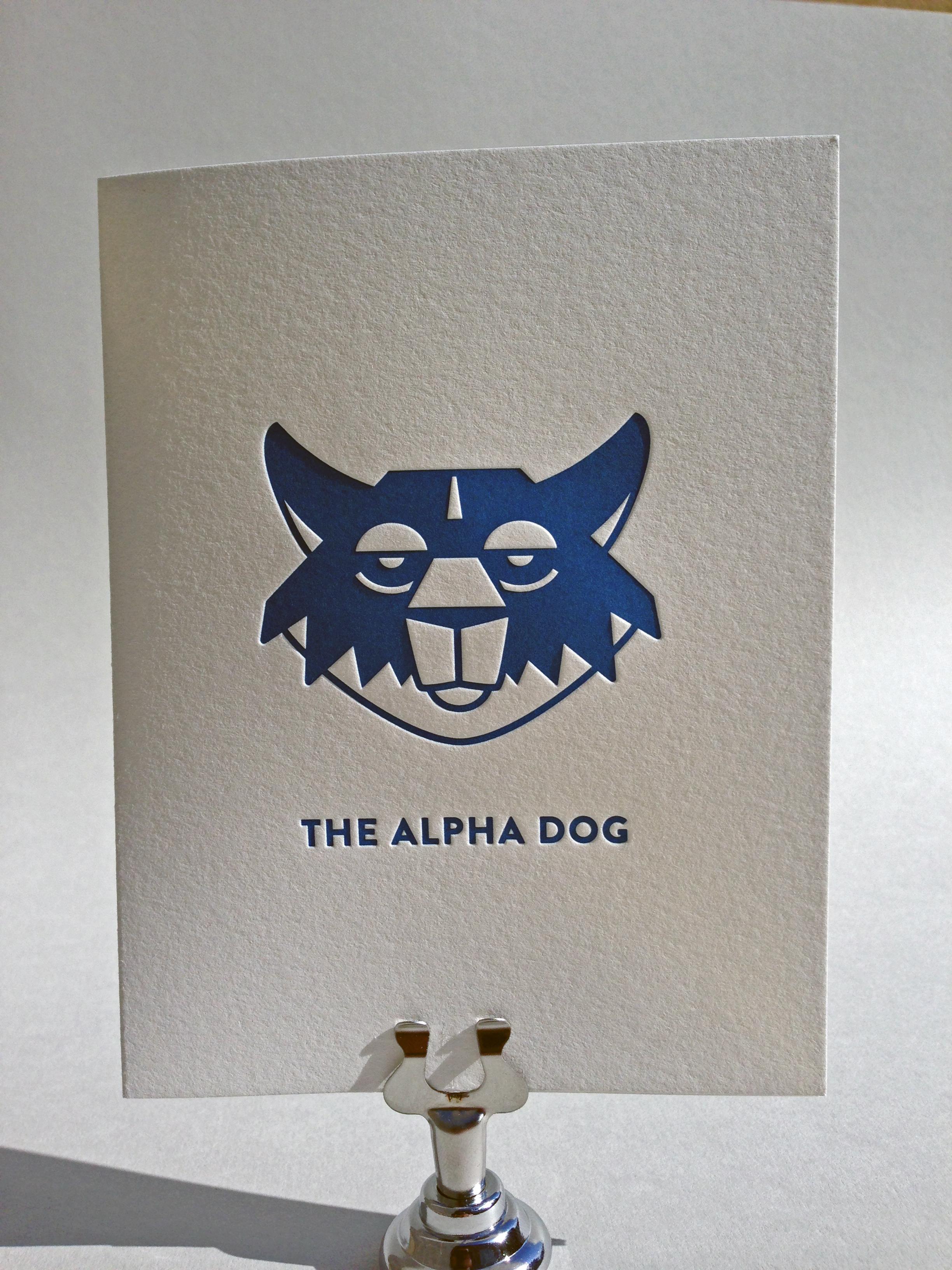 alpha dog letterpress father u0026 39 s day card