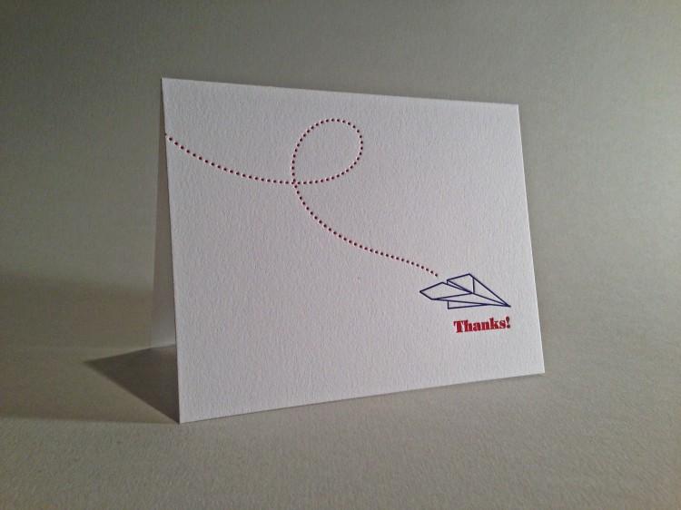 Airplane Letterpress Thank You Card