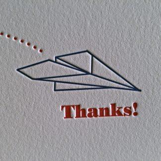 Airplane Letterpress Thank You Card - Airplane