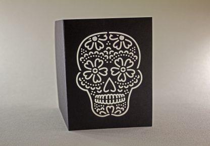 Dia De Los Muertos Laser Cut Greeting Card - Skull Closeup