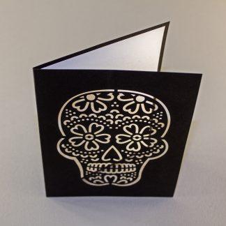 Dia De Los Muertos Laser Cut Greeting Card - White Inside / Black Outside