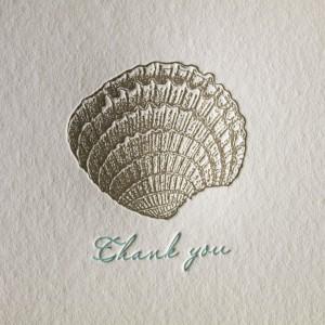 Seashell Letterpress Thank You Card - Closeup
