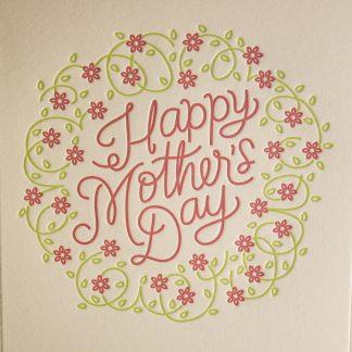 Mom's Wreath Greeting Card - Closeup