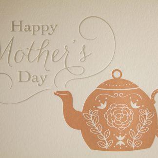 Teapot Mother's Day Greeting Card - Closeup