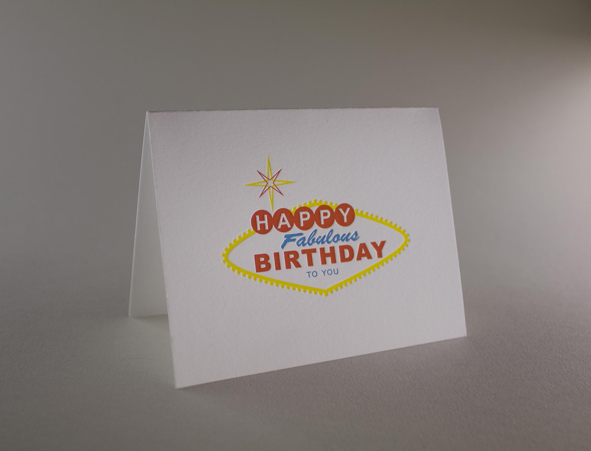 vegas birthday letterpress greeting card - Letterpress Greeting Cards