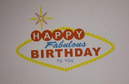 Vegas Birthday Letterpress Greeting Card - Closeup
