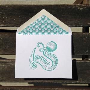 Aquarius Astrology Letterpress Greeting Card