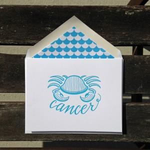 Cancer Astrology Letterpress Greeting Card