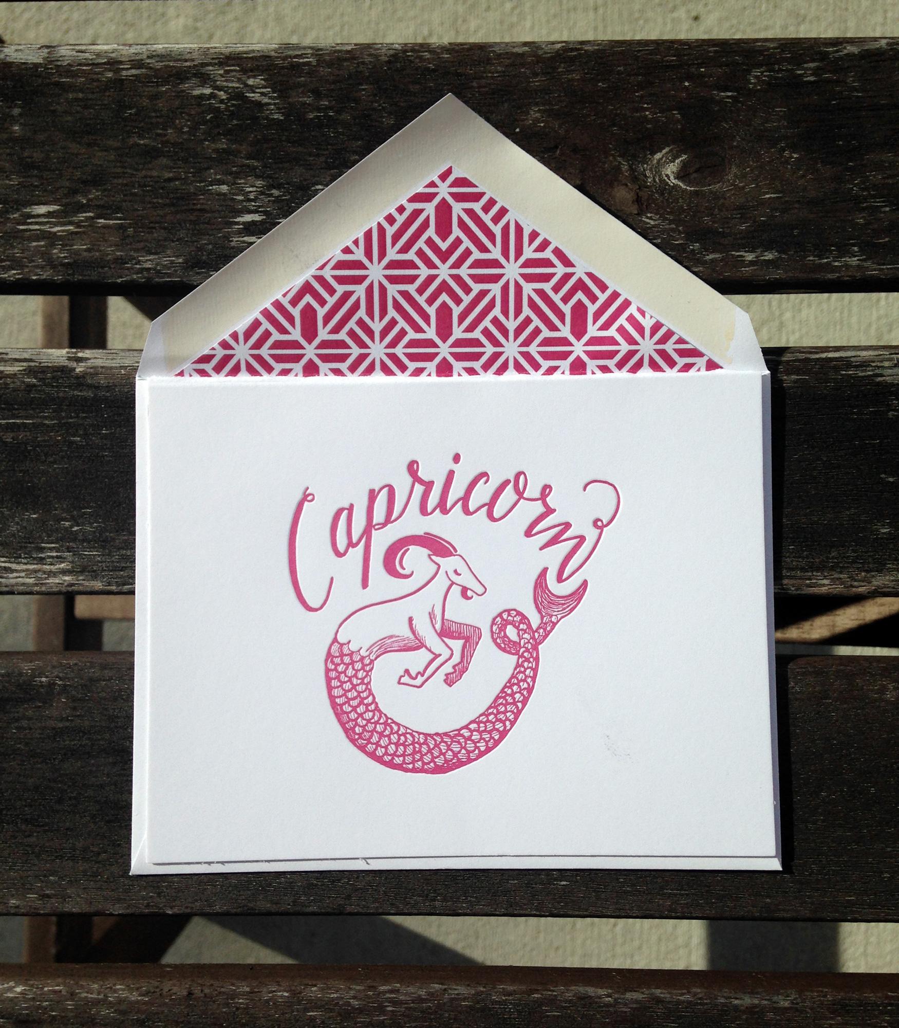 Capricorn Astrology Letterpress Greeting Card