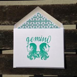 Gemini Astrology Letterpress Greeting Card