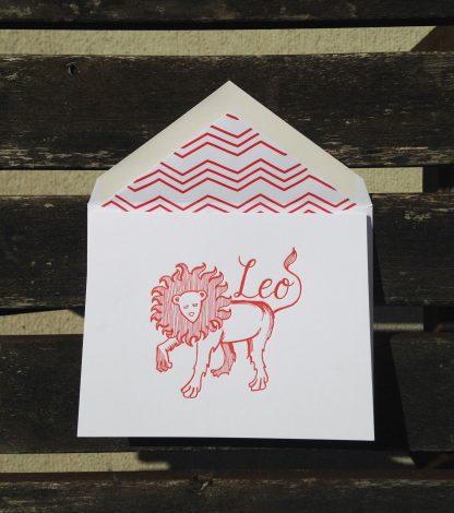 Leo Astrology Letterpress Greeting Card