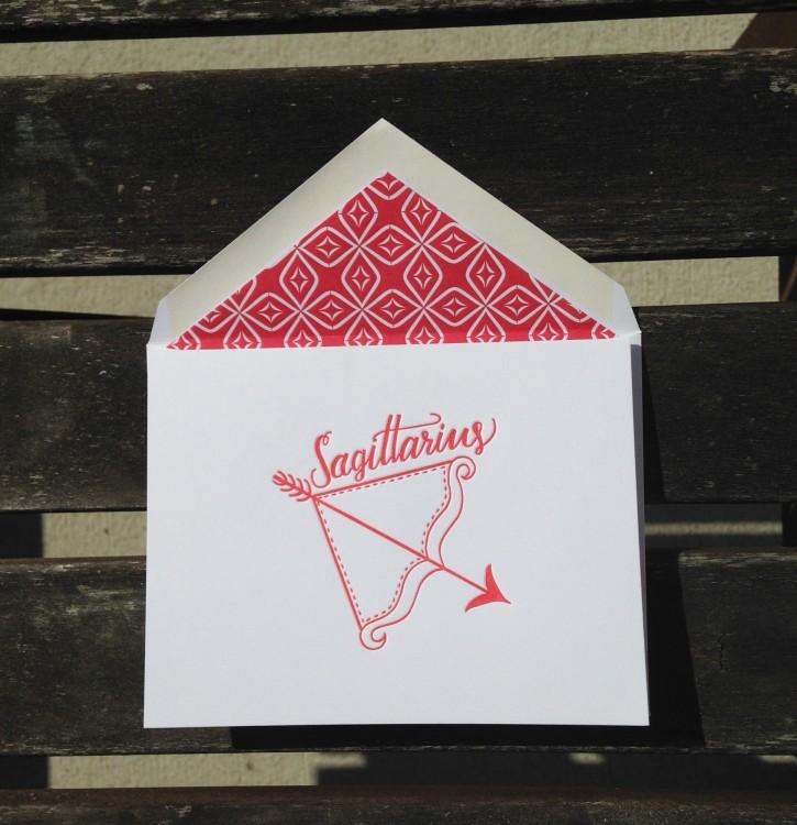 Sagittarius Astrology Letterpress Greeting Card