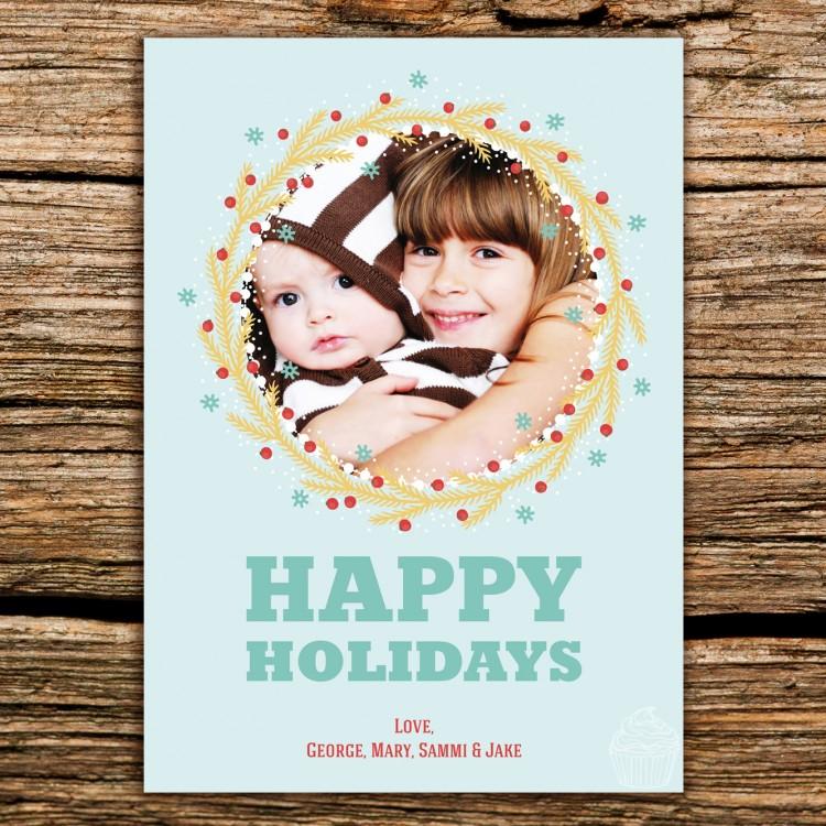 H30 - Happy Holidays - Circle Photo Frame - Holiday Photo Card - Dolce Press