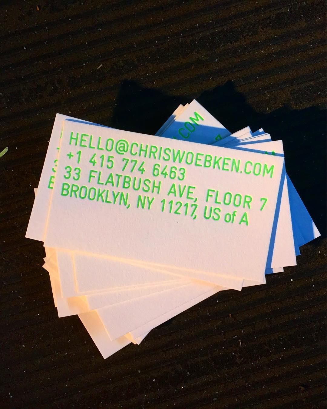 Fluorescent Business Cards